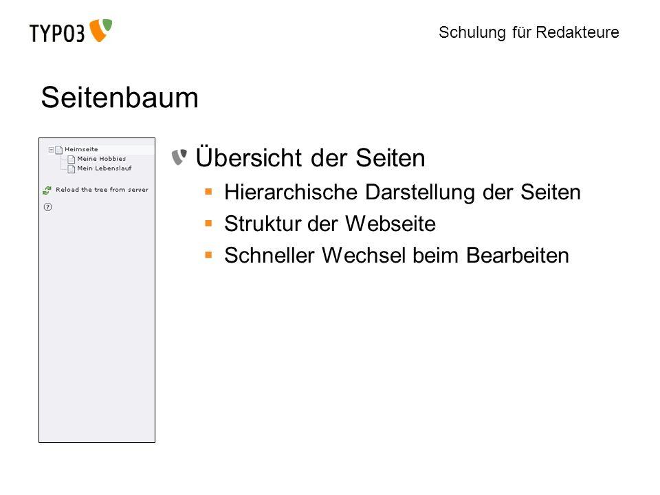 Schulung für Redakteure Seitenbaum Übersicht der Seiten Hierarchische Darstellung der Seiten Struktur der Webseite Schneller Wechsel beim Bearbeiten