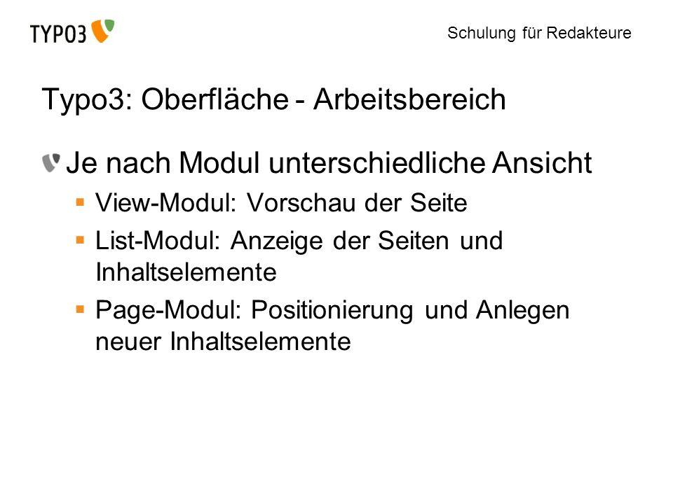 Schulung für Redakteure Typo3: Oberfläche - Arbeitsbereich Je nach Modul unterschiedliche Ansicht View-Modul: Vorschau der Seite List-Modul: Anzeige d