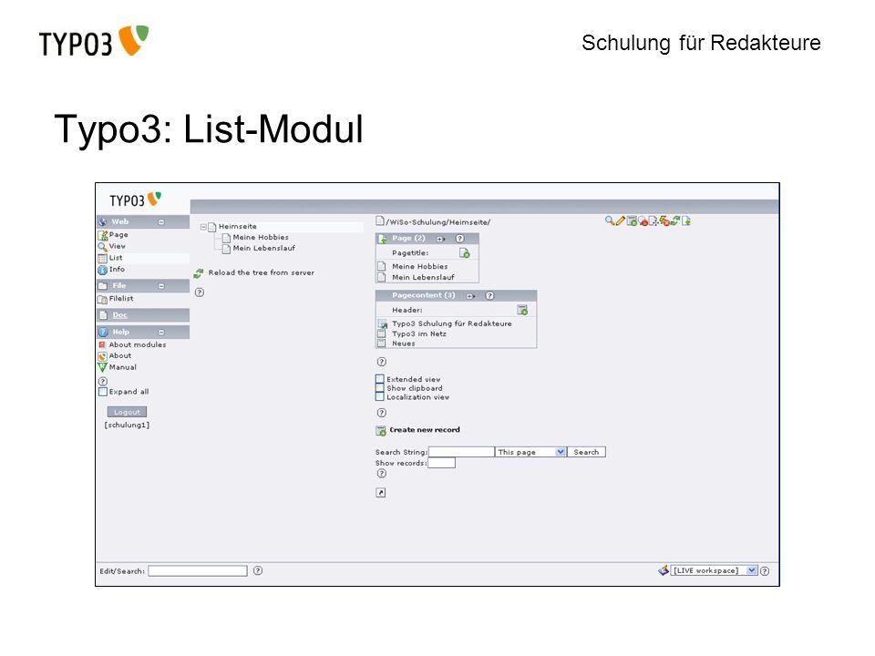 Schulung für Redakteure Typo3: List-Modul
