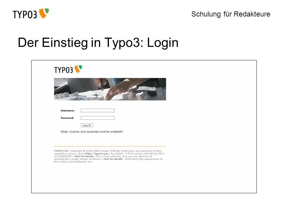 Schulung für Redakteure Der Einstieg in Typo3: Login