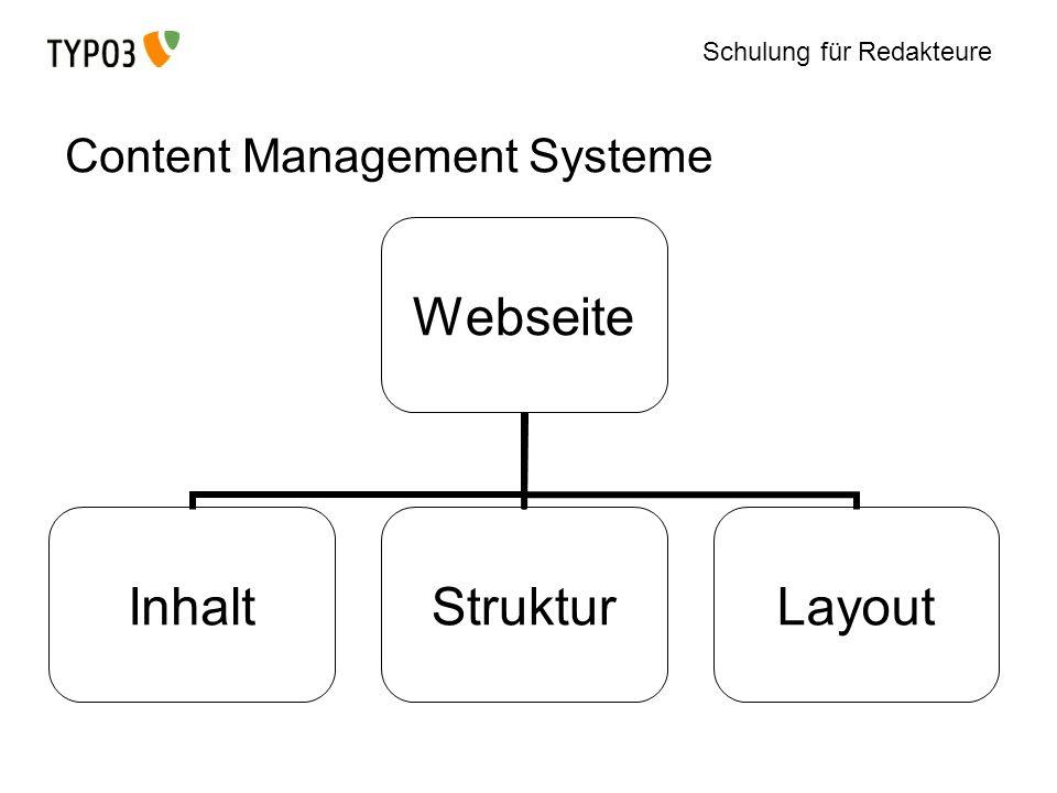 Schulung für Redakteure Typo3: Inhalte und Seiten anlegen Neue Seite können aus den Modulen List und Page angelegt werden