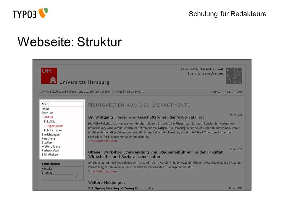 Schulung für Redakteure Webseite: Struktur