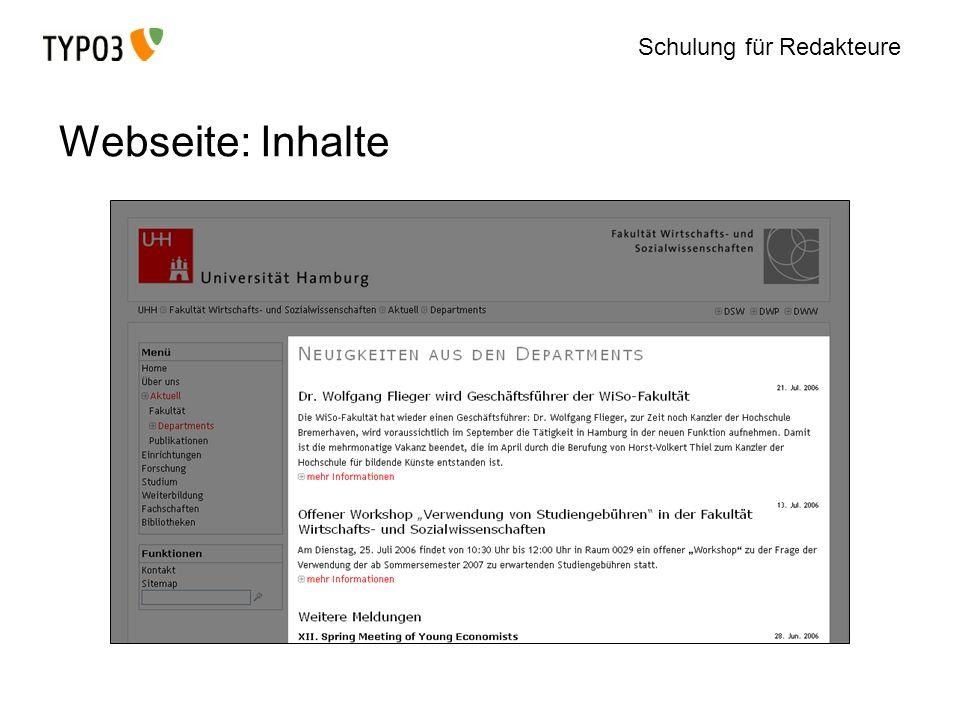 Schulung für Redakteure Webseite: Inhalte