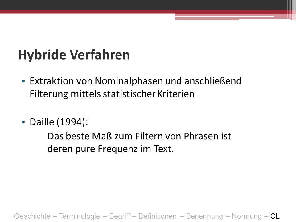 Hybride Verfahren Extraktion von Nominalphasen und anschließend Filterung mittels statistischer Kriterien Daille (1994): Das beste Maß zum Filtern von