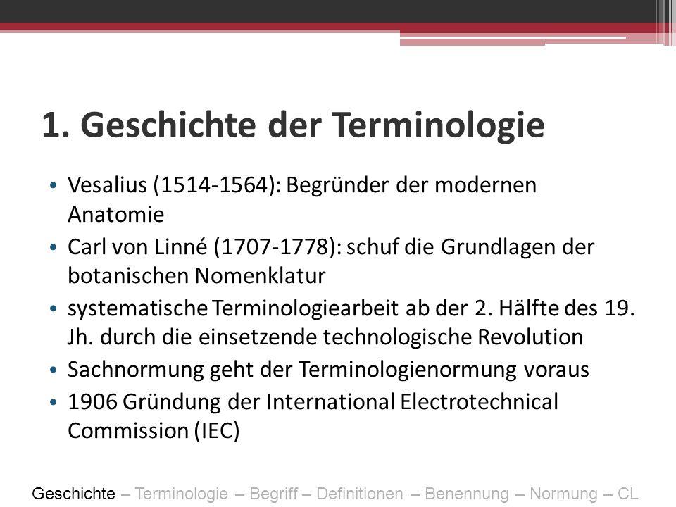 1. Geschichte der Terminologie Vesalius (1514-1564): Begründer der modernen Anatomie Carl von Linné (1707-1778): schuf die Grundlagen der botanischen