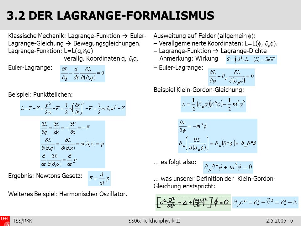 TSS/RKK SS06: Teilchenphysik II2.5.2006 - 6 Klassische Mechanik: Lagrange-Funktion Euler- Lagrange-Gleichung Bewegungsgleichungen. Lagrange-Funktion:
