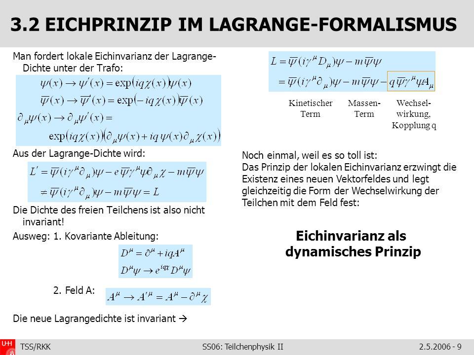 TSS/RKK SS06: Teilchenphysik II2.5.2006 - 9 3.2 EICHPRINZIP IM LAGRANGE-FORMALISMUS Man fordert lokale Eichinvarianz der Lagrange- Dichte unter der Tr