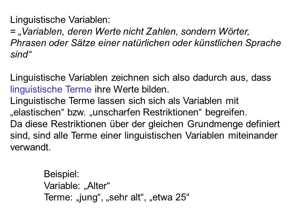Gliederung 1.Typen und Aufbau linguistischer Variablen Linguistische Variablen Strukturierte linguistische Variablen Boolsche linguistische Variablen 2.