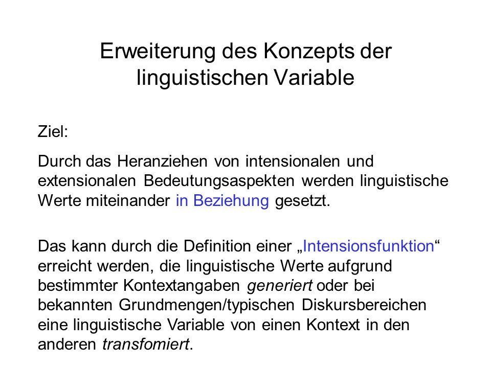 Erweiterung des Konzepts der linguistischen Variable Ziel: Durch das Heranziehen von intensionalen und extensionalen Bedeutungsaspekten werden linguistische Werte miteinander in Beziehung gesetzt.