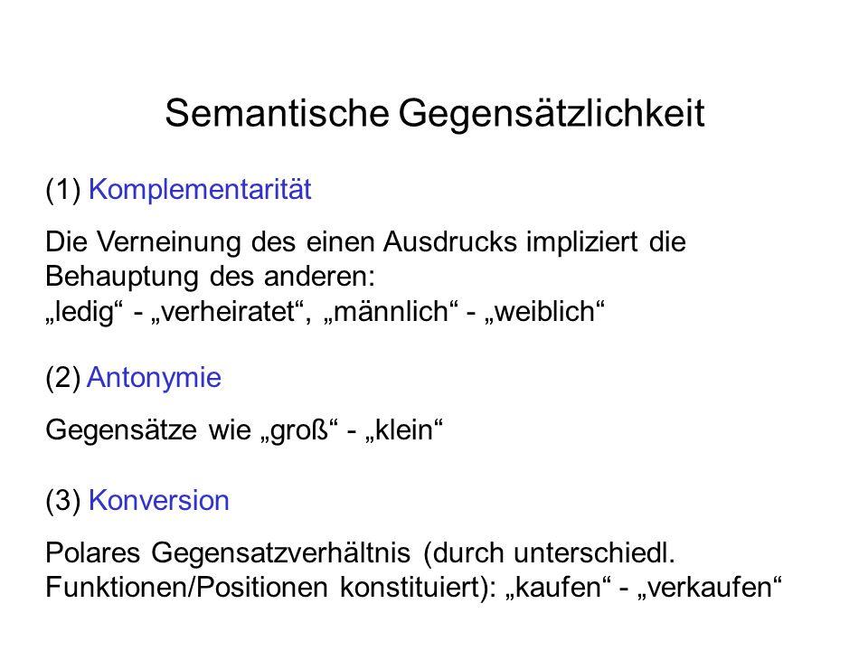 Semantische Gegensätzlichkeit (1) Komplementarität Die Verneinung des einen Ausdrucks impliziert die Behauptung des anderen: ledig - verheiratet, männlich - weiblich (2) Antonymie Gegensätze wie groß - klein (3) Konversion Polares Gegensatzverhältnis (durch unterschiedl.