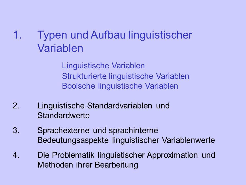 Definition Eine linguistische Variable wird durch ein Quintupel (X,T,,G,B) charakterisiert: X ist der Name der linguistischen Variablen.