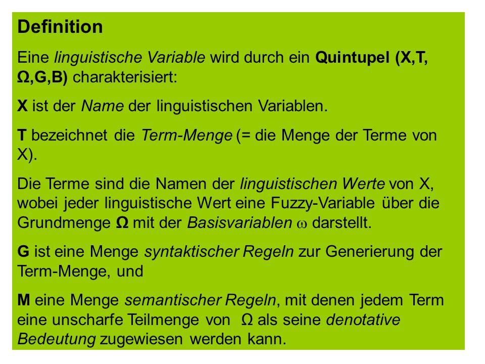 Termarten: (1) Grundterme (2) zusammengesetzte Terme Linguistische Variablen mit zusammengesetzten Termen in T: (2) boolsche linguistische Variablen z.B.