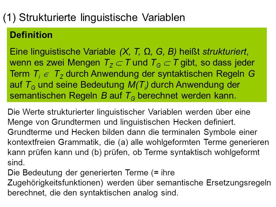 Definition Eine linguistische Variable (X, T,, G, B) heißt strukturiert, wenn es zwei Mengen T Z T und T G T gibt, so dass jeder Term T i T Z durch Anwendung der syntaktischen Regeln G auf T G und seine Bedeutung M(T i ) durch Anwendung der semantischen Regeln B auf T G berechnet werden kann.
