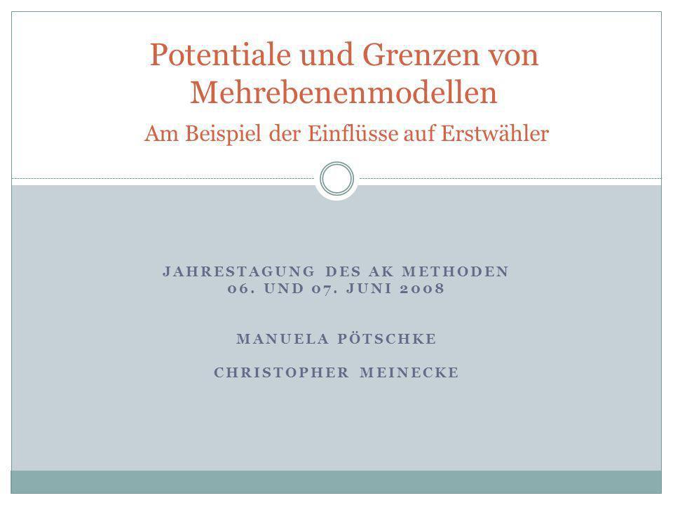 Gliederung Manuela Pötschke & Christopher MeineckeJahrestagung AK Methoden 2008 1.Juniorwahlprojekt und Begleitforschung 2.Mehrebenenmodelle 3.Empirische Ergebnisse