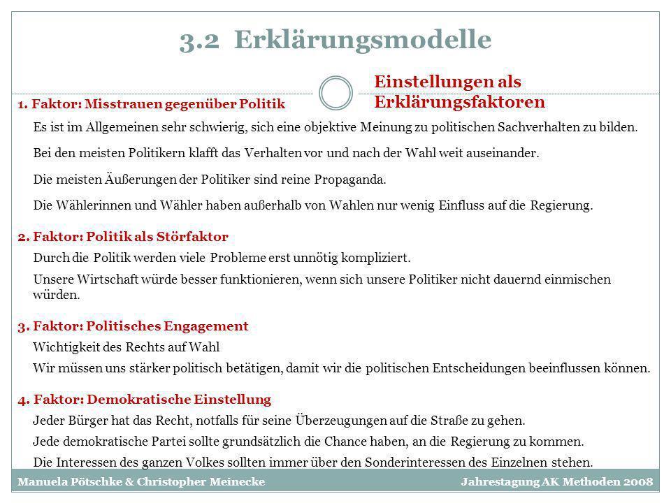 3.2 Erklärungsmodelle Einstellungen als Erklärungsfaktoren 1. Faktor: Misstrauen gegenüber Politik 4. Faktor: Demokratische Einstellung 3. Faktor: Pol