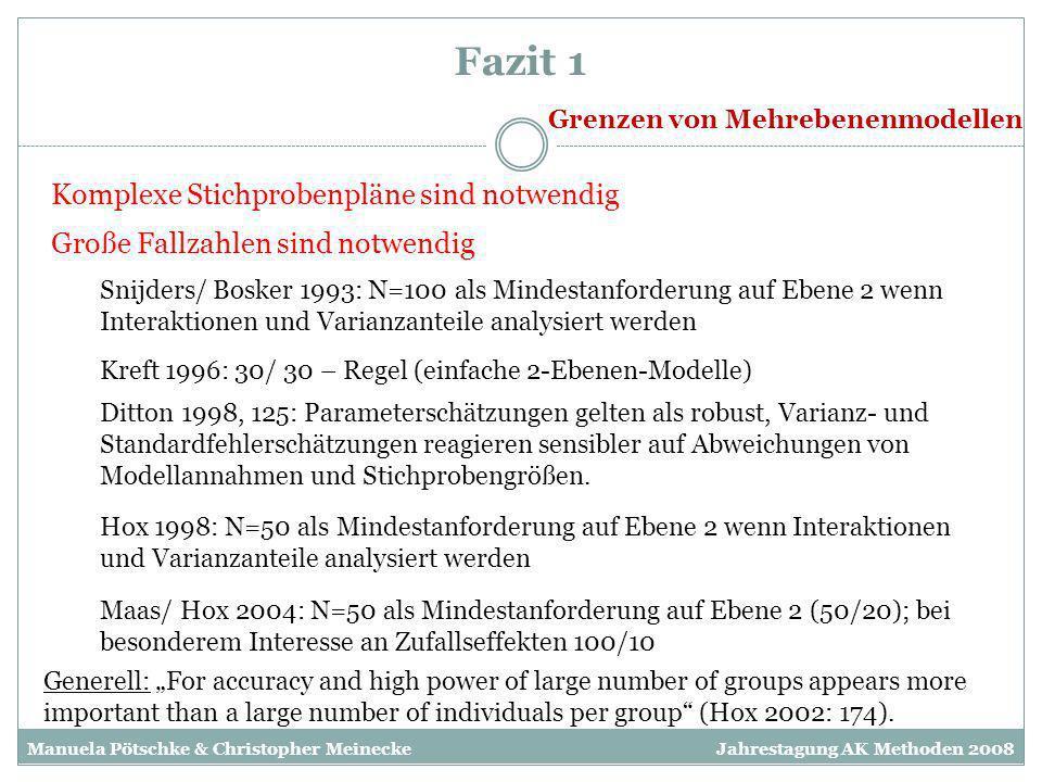 Fazit 1 Grenzen von Mehrebenenmodellen Komplexe Stichprobenpläne sind notwendig Große Fallzahlen sind notwendig Hox 1998: N=50 als Mindestanforderung