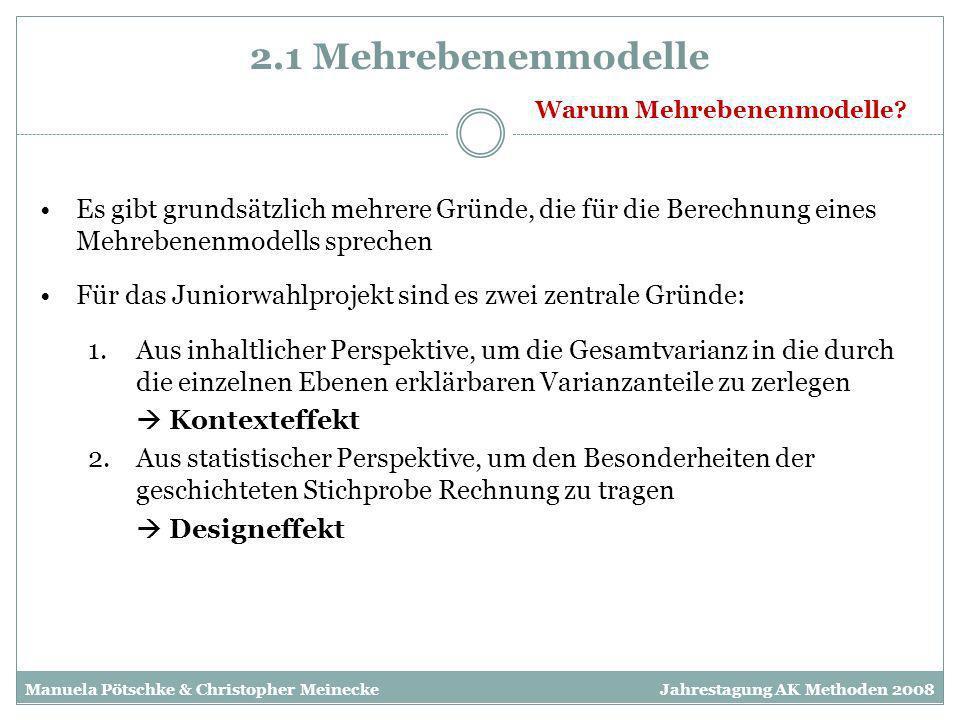 2.1 Mehrebenenmodelle Manuela Pötschke & Christopher MeineckeJahrestagung AK Methoden 2008 Es gibt grundsätzlich mehrere Gründe, die für die Berechnun
