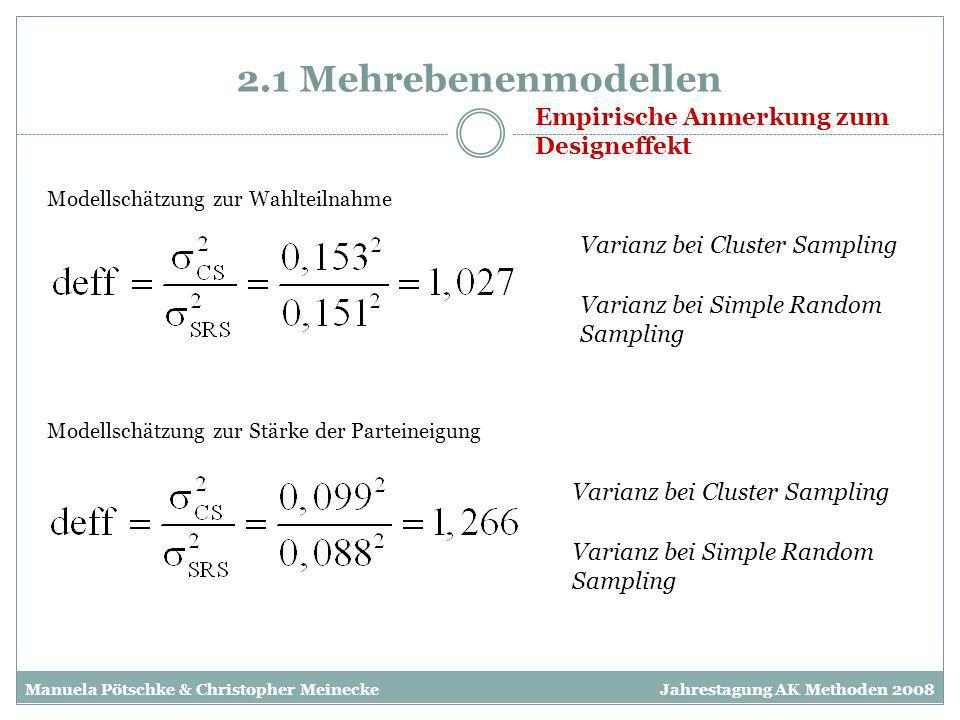 2.1 Mehrebenenmodellen Modellschätzung zur Wahlteilnahme Modellschätzung zur Stärke der Parteineigung Empirische Anmerkung zum Designeffekt Varianz be