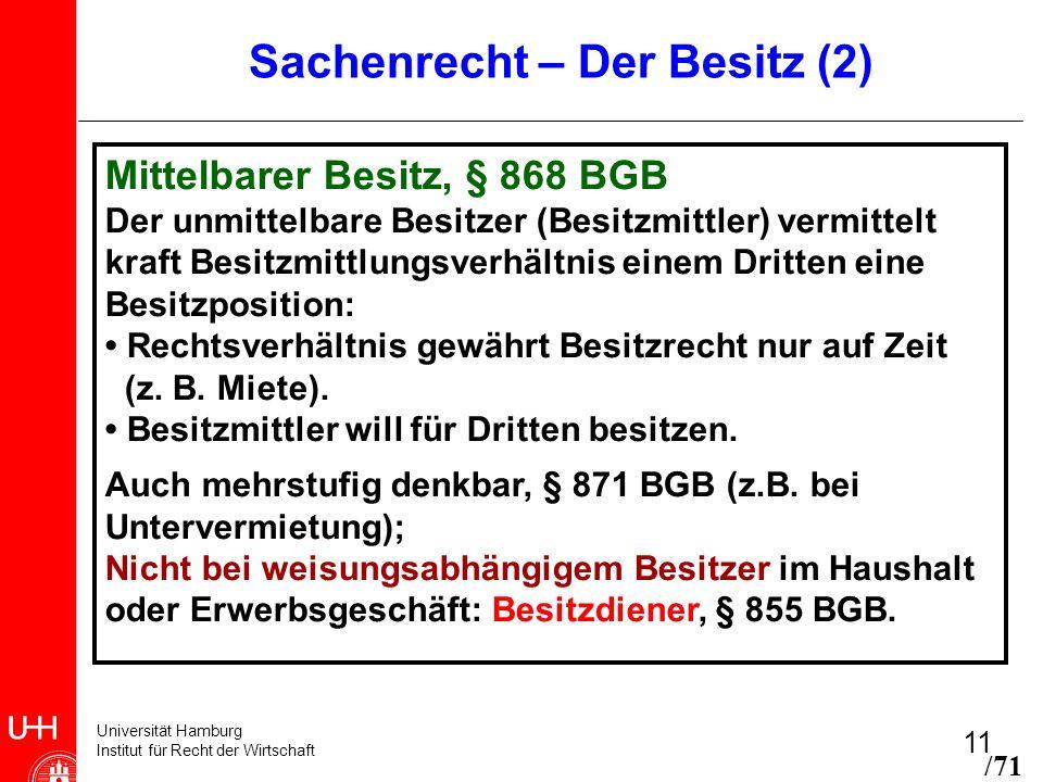 Universität Hamburg Institut für Recht der Wirtschaft 11 Sachenrecht – Der Besitz (2) Mittelbarer Besitz, § 868 BGB Der unmittelbare Besitzer (Besitzm