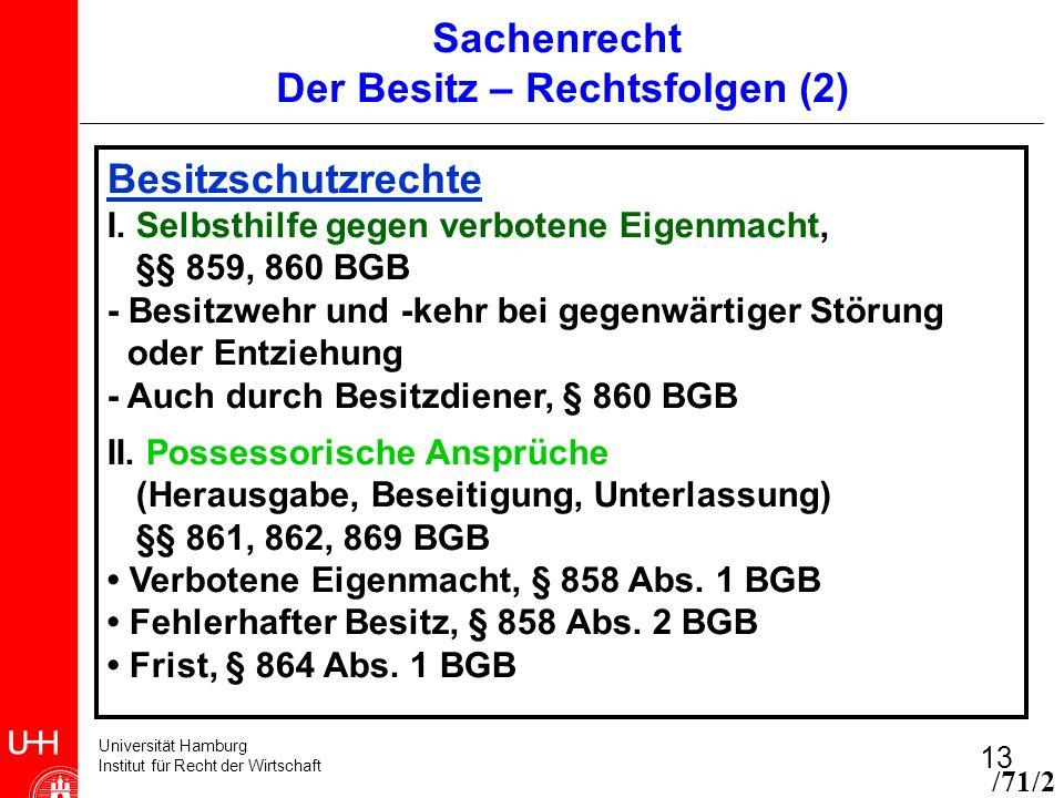 Universität Hamburg Institut für Recht der Wirtschaft 13 Sachenrecht Der Besitz – Rechtsfolgen (2) Besitzschutzrechte I. Selbsthilfe gegen verbotene E