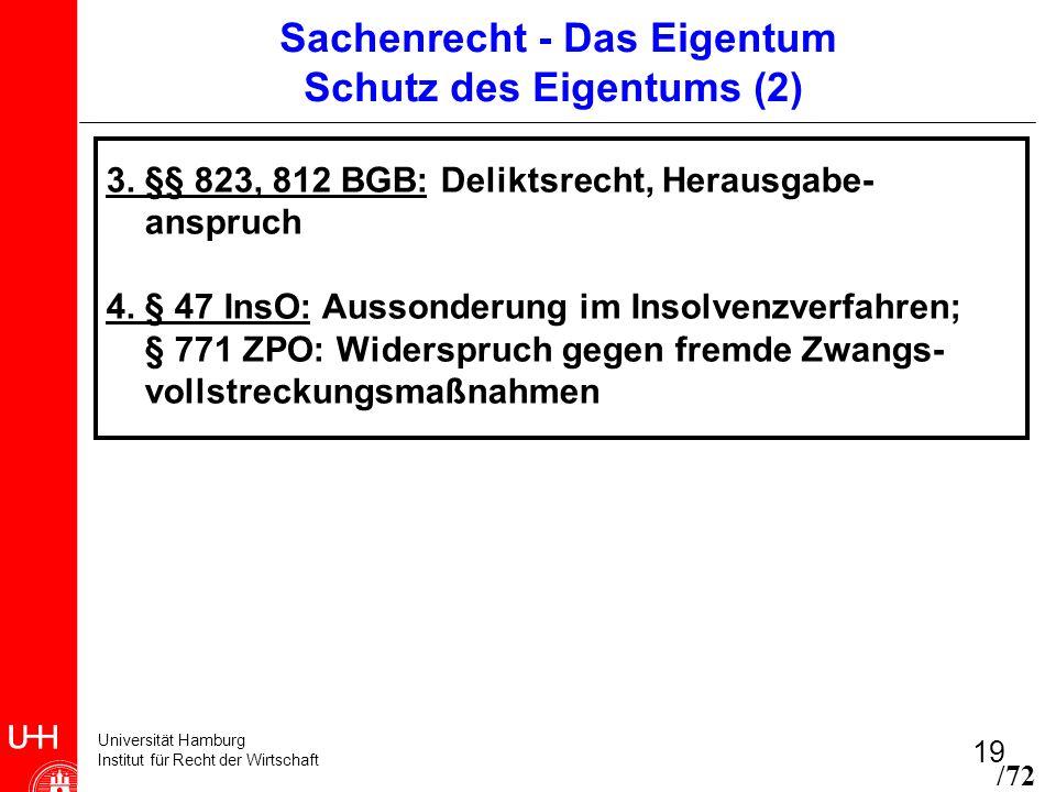 Universität Hamburg Institut für Recht der Wirtschaft 19 Sachenrecht - Das Eigentum Schutz des Eigentums (2) 3. §§ 823, 812 BGB: Deliktsrecht, Herausg