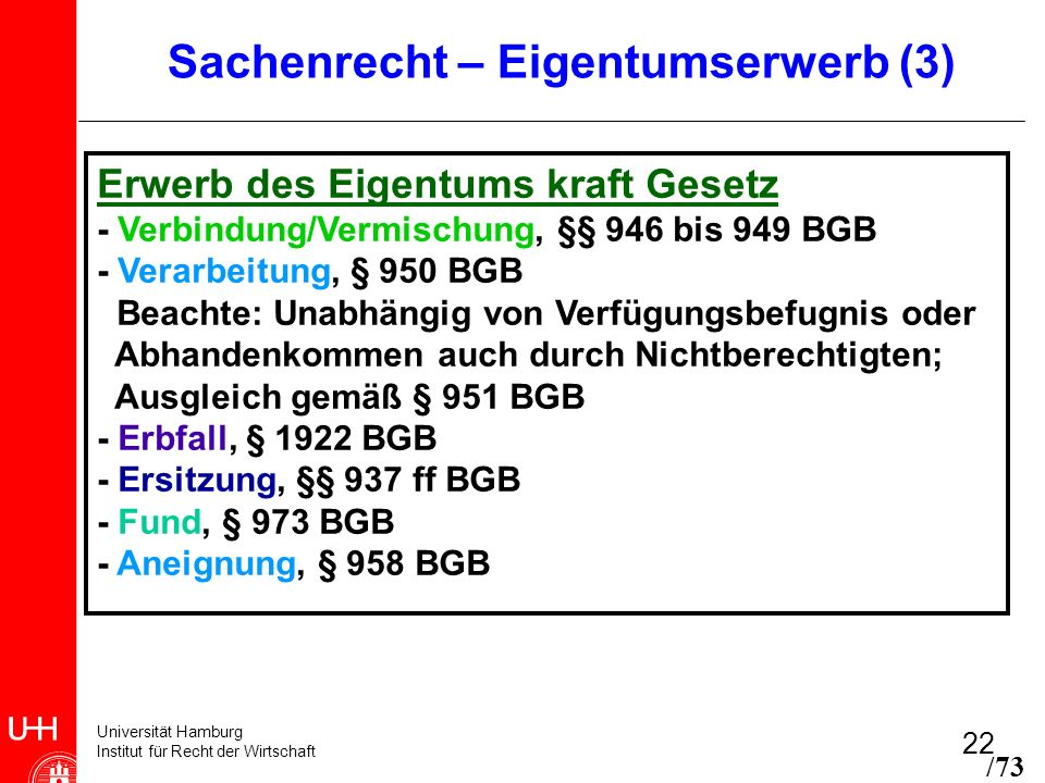 Universität Hamburg Institut für Recht der Wirtschaft 22 Sachenrecht – Eigentumserwerb (3) Erwerb des Eigentums kraft Gesetz - Verbindung/Vermischung,