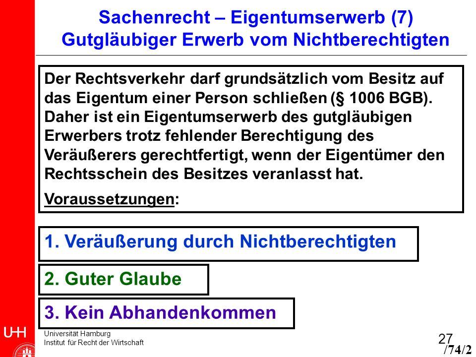 Universität Hamburg Institut für Recht der Wirtschaft 27 Sachenrecht – Eigentumserwerb (7) Gutgläubiger Erwerb vom Nichtberechtigten 1. Veräußerung du