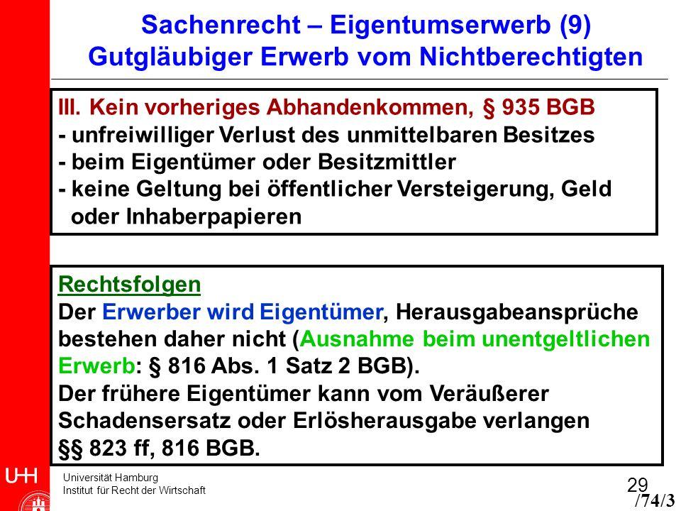 Universität Hamburg Institut für Recht der Wirtschaft 29 Sachenrecht – Eigentumserwerb (9) Gutgläubiger Erwerb vom Nichtberechtigten III. Kein vorheri