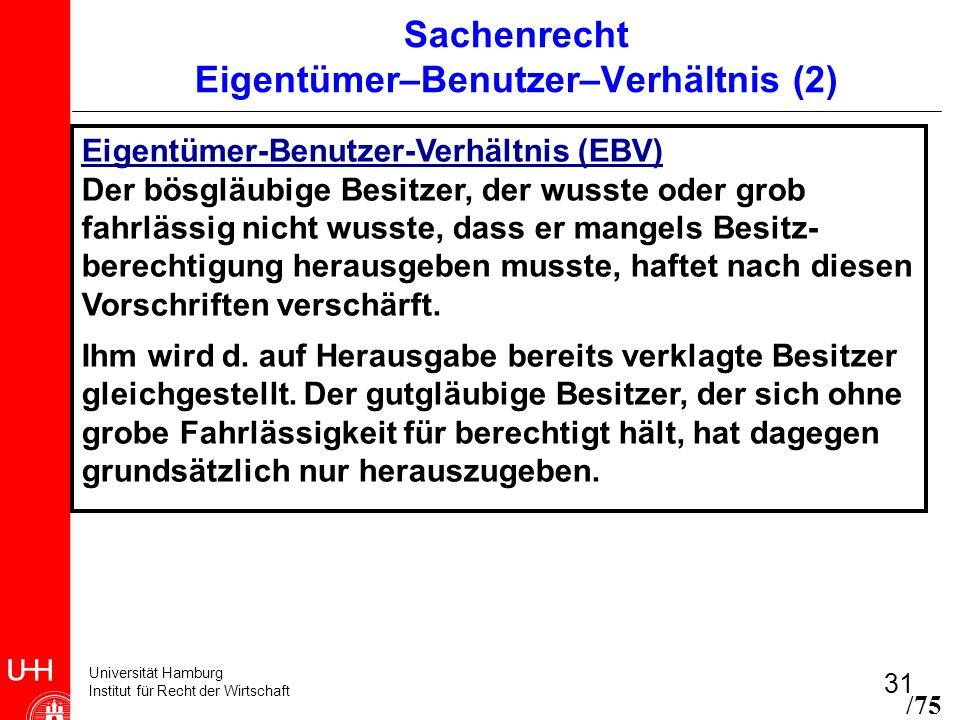 Universität Hamburg Institut für Recht der Wirtschaft 31 Sachenrecht Eigentümer–Benutzer–Verhältnis (2) Eigentümer-Benutzer-Verhältnis (EBV) Der bösgl