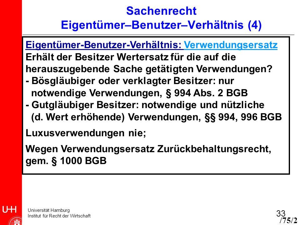 Universität Hamburg Institut für Recht der Wirtschaft 33 Sachenrecht Eigentümer–Benutzer–Verhältnis (4) Eigentümer-Benutzer-Verhältnis: Verwendungsers