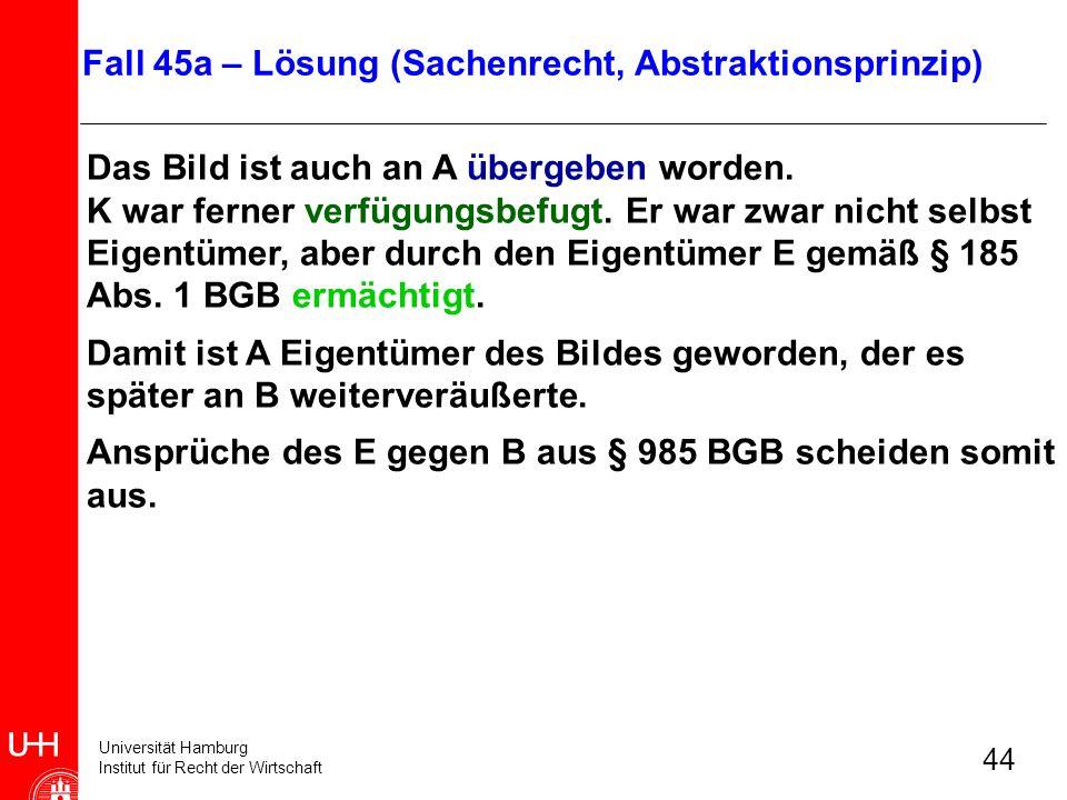 Universität Hamburg Institut für Recht der Wirtschaft 44 Das Bild ist auch an A übergeben worden. K war ferner verfügungsbefugt. Er war zwar nicht sel