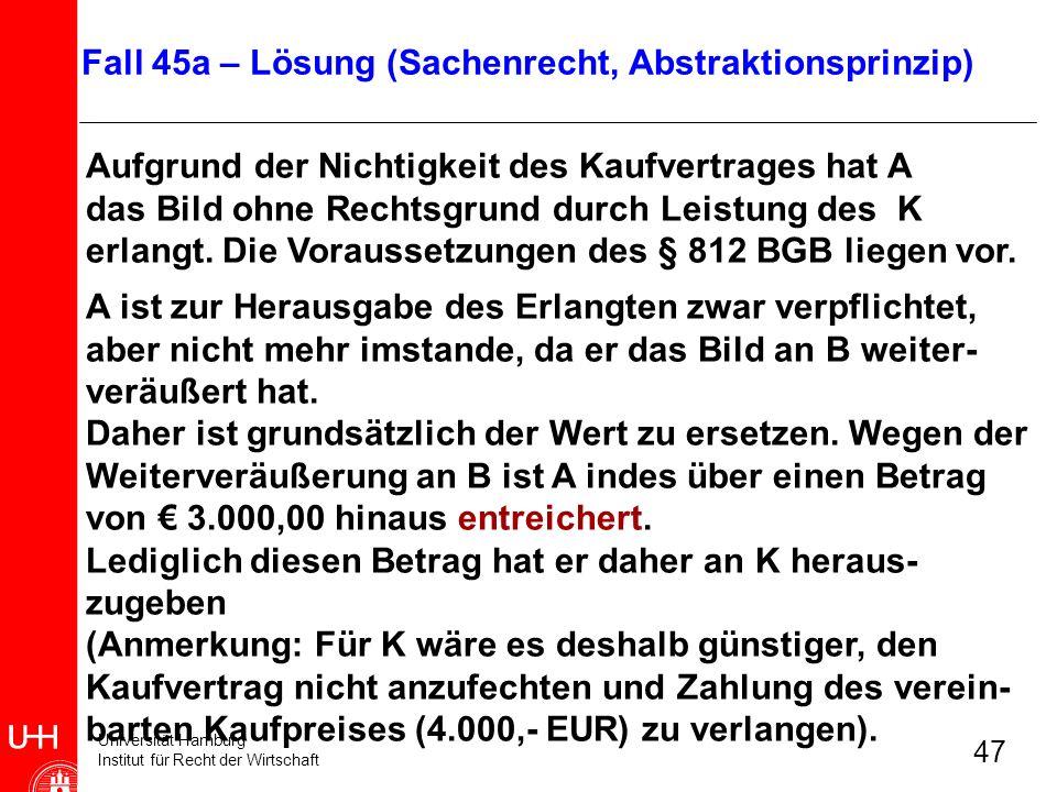 Universität Hamburg Institut für Recht der Wirtschaft 47 Aufgrund der Nichtigkeit des Kaufvertrages hat A das Bild ohne Rechtsgrund durch Leistung des