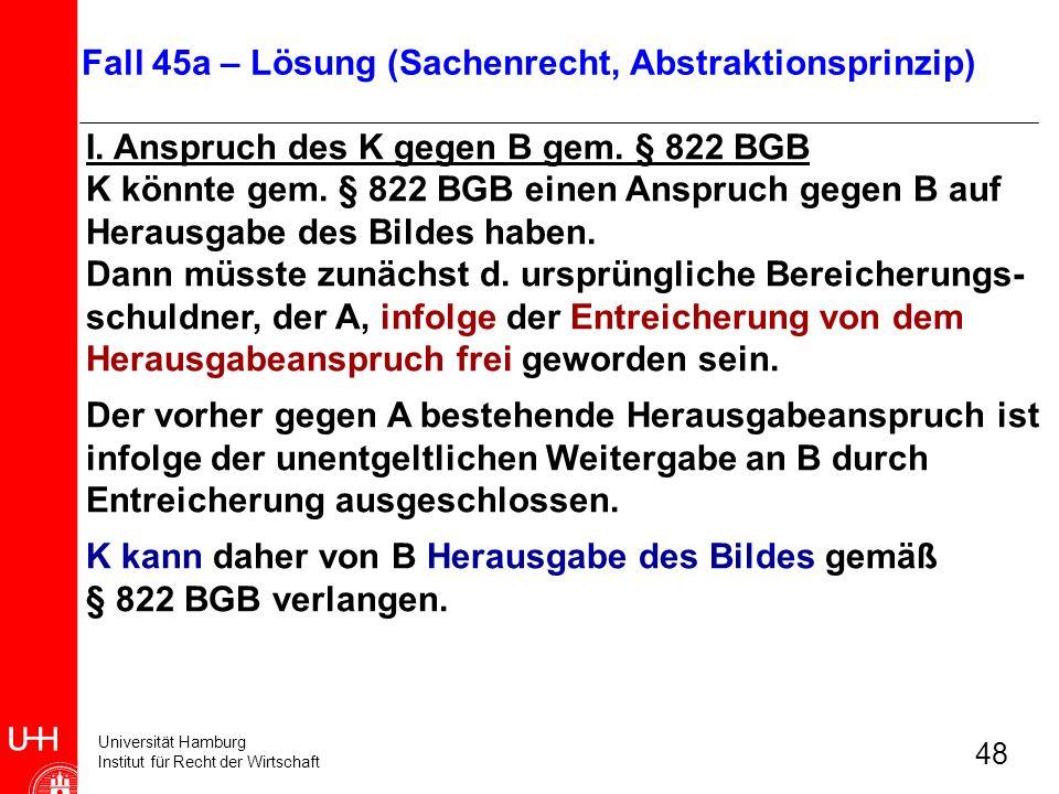 Universität Hamburg Institut für Recht der Wirtschaft 48 I. Anspruch des K gegen B gem. § 822 BGB K könnte gem. § 822 BGB einen Anspruch gegen B auf H