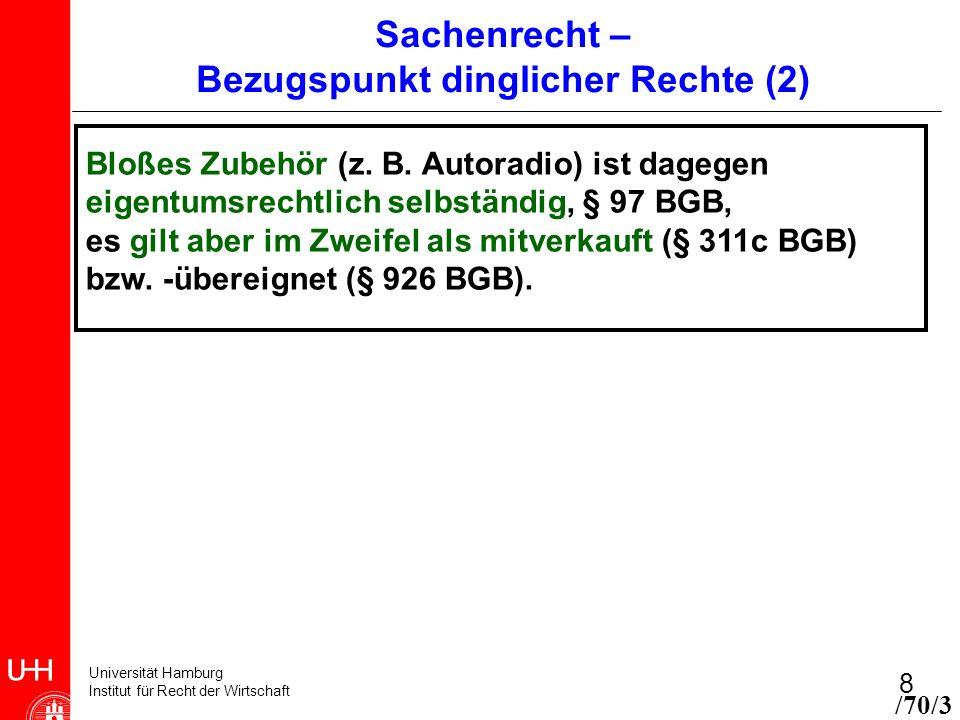 Universität Hamburg Institut für Recht der Wirtschaft 8 Bloßes Zubehör (z. B. Autoradio) ist dagegen eigentumsrechtlich selbständig, § 97 BGB, es gilt