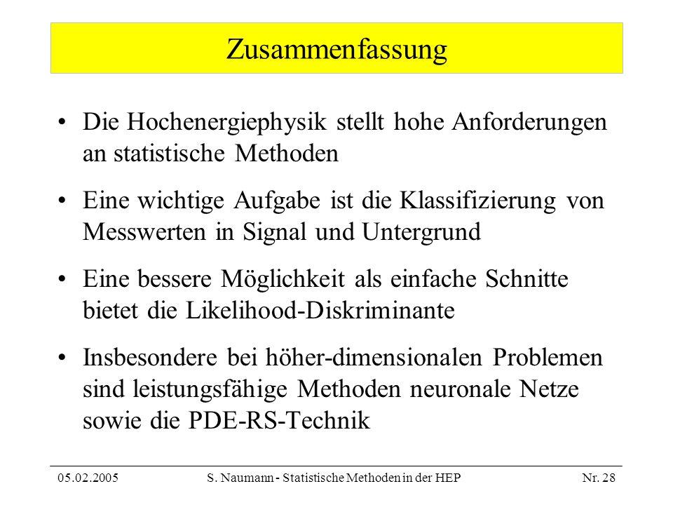 05.02.2005S. Naumann - Statistische Methoden in der HEPNr. 28 Zusammenfassung Die Hochenergiephysik stellt hohe Anforderungen an statistische Methoden
