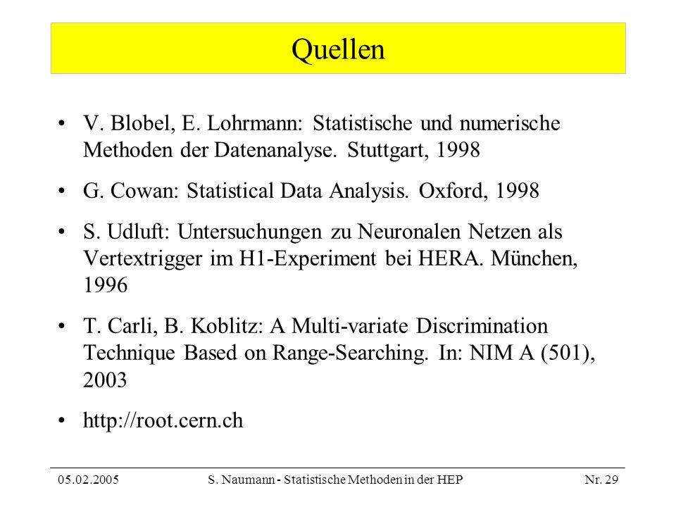 05.02.2005S. Naumann - Statistische Methoden in der HEPNr. 29 Quellen V. Blobel, E. Lohrmann: Statistische und numerische Methoden der Datenanalyse. S