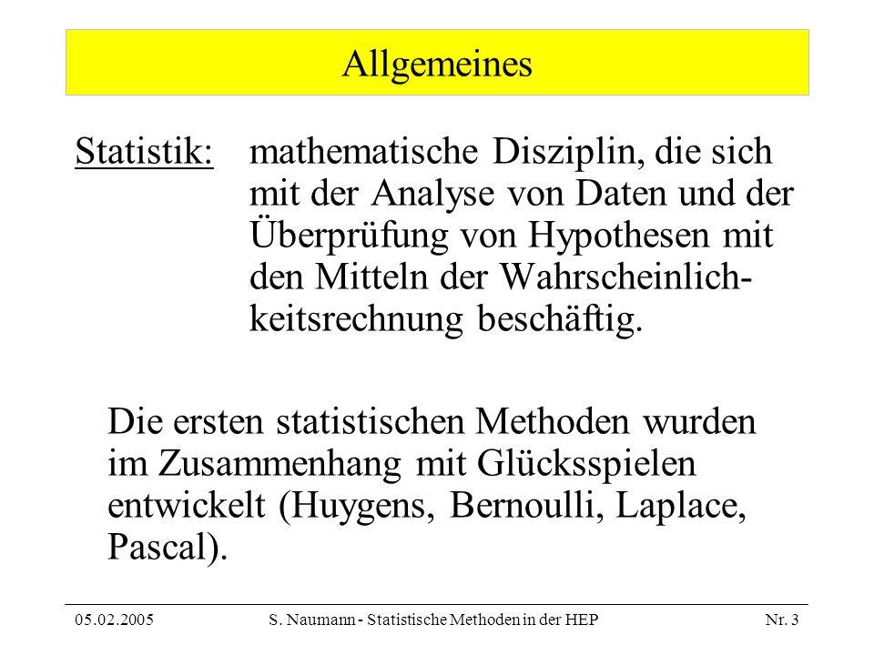 05.02.2005S. Naumann - Statistische Methoden in der HEPNr. 3 Allgemeines Statistik: mathematische Disziplin, die sich mit der Analyse von Daten und de