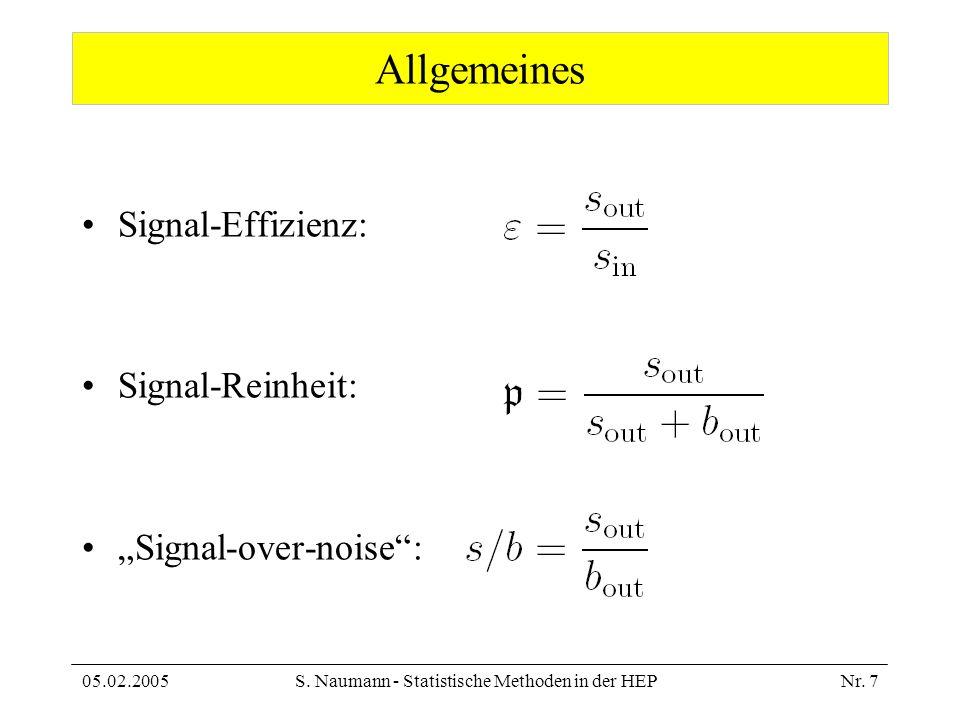 05.02.2005S. Naumann - Statistische Methoden in der HEPNr. 7 Allgemeines Signal-Effizienz: Signal-Reinheit: Signal-over-noise: