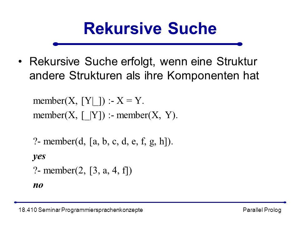 Rekursive Suche Rekursive Suche erfolgt, wenn eine Struktur andere Strukturen als ihre Komponenten hat member(X, [Y|_]) :- X = Y.