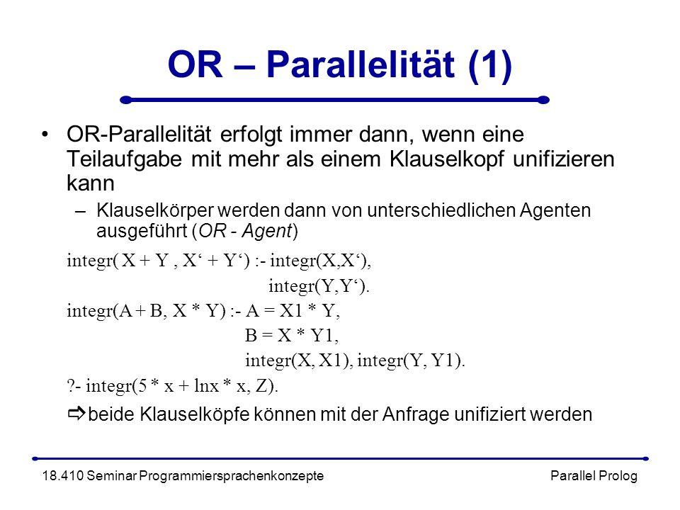 OR – Parallelität (1) OR-Parallelität erfolgt immer dann, wenn eine Teilaufgabe mit mehr als einem Klauselkopf unifizieren kann –Klauselkörper werden dann von unterschiedlichen Agenten ausgeführt (OR - Agent) integr( X + Y, X + Y) :- integr(X,X), integr(Y,Y).