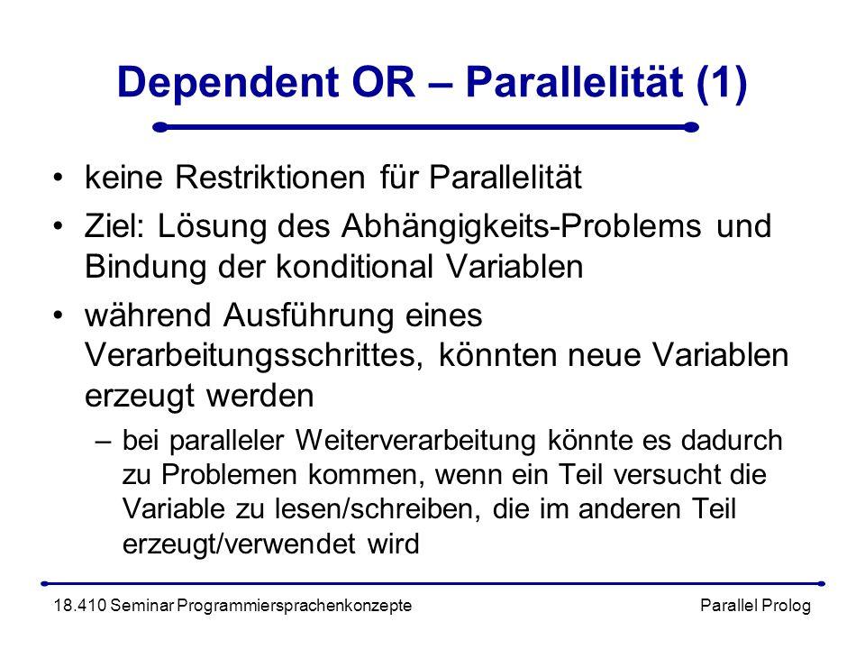 Dependent OR – Parallelität (1) keine Restriktionen für Parallelität Ziel: Lösung des Abhängigkeits-Problems und Bindung der konditional Variablen während Ausführung eines Verarbeitungsschrittes, könnten neue Variablen erzeugt werden –bei paralleler Weiterverarbeitung könnte es dadurch zu Problemen kommen, wenn ein Teil versucht die Variable zu lesen/schreiben, die im anderen Teil erzeugt/verwendet wird 18.410 Seminar Programmiersprachenkonzepte Parallel Prolog