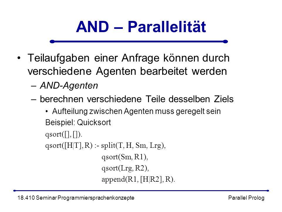 AND – Parallelität Teilaufgaben einer Anfrage können durch verschiedene Agenten bearbeitet werden –AND-Agenten –berechnen verschiedene Teile desselben Ziels Aufteilung zwischen Agenten muss geregelt sein Beispiel: Quicksort qsort([], []).