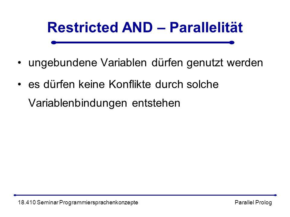 Restricted AND – Parallelität ungebundene Variablen dürfen genutzt werden es dürfen keine Konflikte durch solche Variablenbindungen entstehen 18.410 Seminar Programmiersprachenkonzepte Parallel Prolog