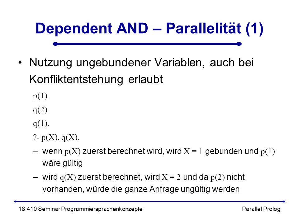 Dependent AND – Parallelität (1) Nutzung ungebundener Variablen, auch bei Konfliktentstehung erlaubt p(1).