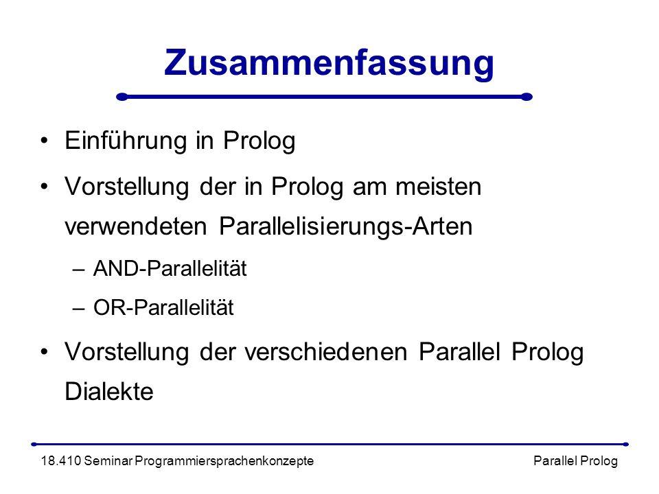 Zusammenfassung Einführung in Prolog Vorstellung der in Prolog am meisten verwendeten Parallelisierungs-Arten –AND-Parallelität –OR-Parallelität Vorstellung der verschiedenen Parallel Prolog Dialekte 18.410 Seminar Programmiersprachenkonzepte Parallel Prolog