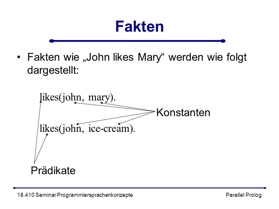 Fakten Fakten wie John likes Mary werden wie folgt dargestellt: likes(john, mary).