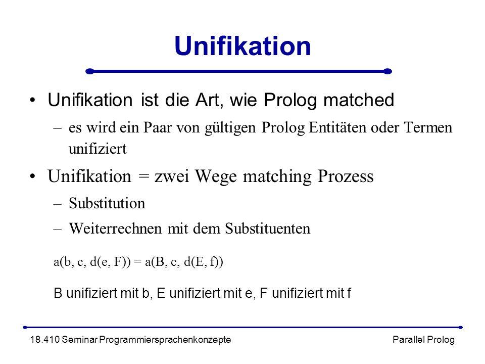 Unifikation Unifikation ist die Art, wie Prolog matched –es wird ein Paar von gültigen Prolog Entitäten oder Termen unifiziert Unifikation = zwei Wege matching Prozess –Substitution –Weiterrechnen mit dem Substituenten a(b, c, d(e, F)) = a(B, c, d(E, f)) B unifiziert mit b, E unifiziert mit e, F unifiziert mit f 18.410 Seminar Programmiersprachenkonzepte Parallel Prolog