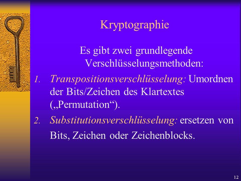 12 Kryptographie Es gibt zwei grundlegende Verschlüsselungsmethoden: 1. Transpositionsverschlüsselung: Umordnen der Bits/Zeichen des Klartextes (Permu