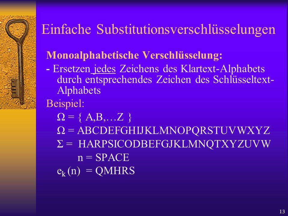 13 Einfache Substitutionsverschlüsselungen Monoalphabetische Verschlüsselung: - Ersetzen jedes Zeichens des Klartext-Alphabets durch entsprechendes Ze