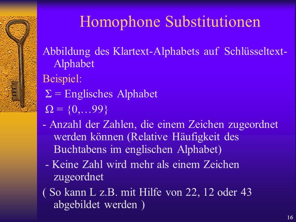 16 Homophone Substitutionen Abbildung des Klartext-Alphabets auf Schlüsseltext- Alphabet Beispiel: Σ = Englisches Alphabet Ω = {0,…99} - Anzahl der Za